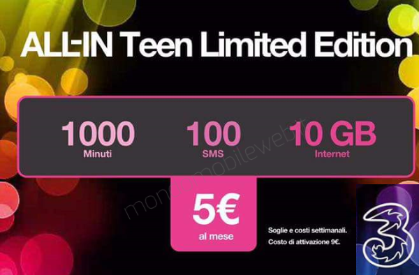 3Italia: All-In Teen 10GB AL MESE Operator Attack